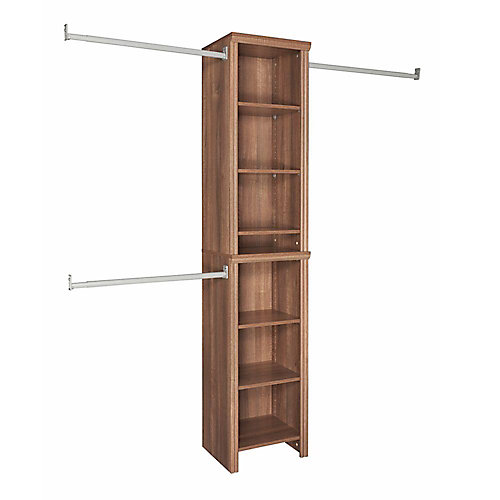 Impressions 4 ft. to 9 ft. W Narrow Closet Kit in Walnut