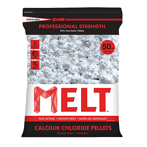 Produit de déglaçage en granulés de chlorure de calcium de qualité industrielle en sac refermable de 22,7 kg (50 lb)