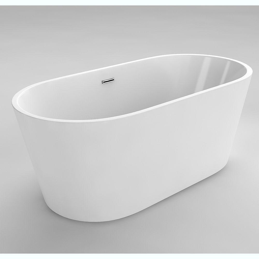 Acri-Tec Monaco 5 Feet 3-Inch Acrylic Freestanding Bathtub in White