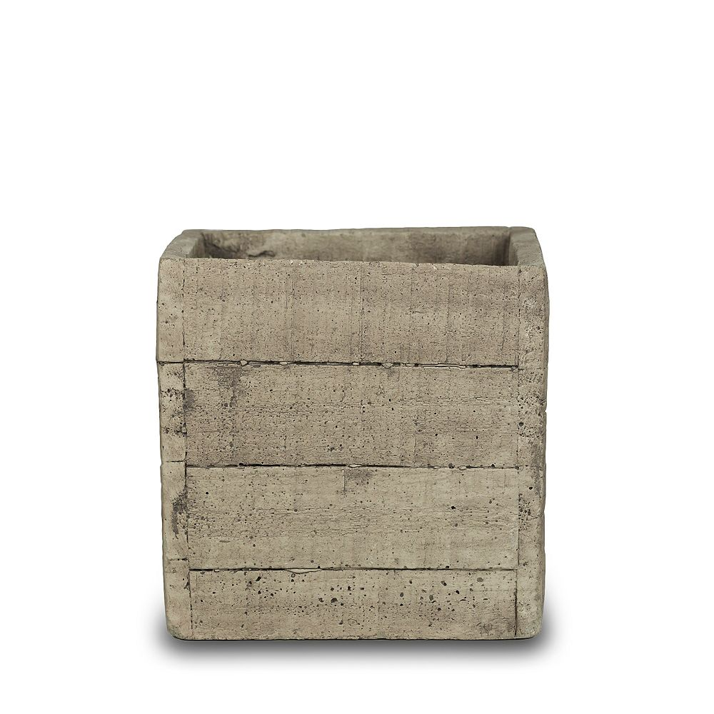 New England Pottery 7-inch Faux Wood Square Planter Box in Cement