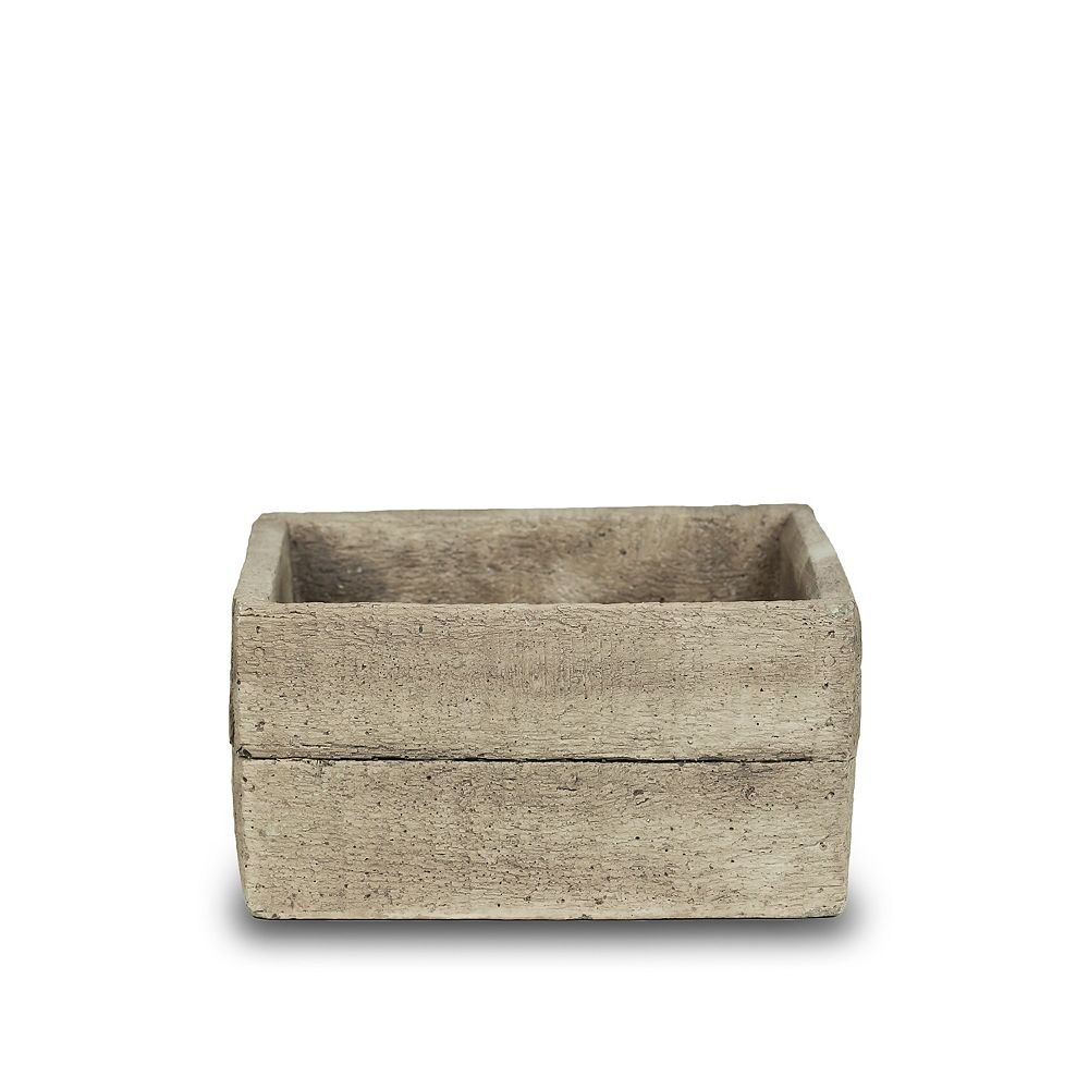 New England Pottery 7-inch Faux Wood Low Square Planter Box in Cement