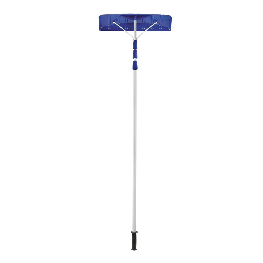 Snow Joe Twist-N-Lock 21 ft. Telescoping Snow Shovel Roof Rake with 6-inch x 25-inch Poly Blade