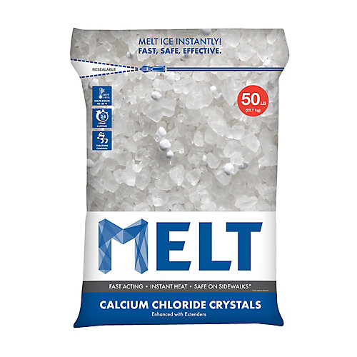 MELT 50 lb Produit de déglaçage à cristaux de chlorure de calcium en sac réutilisable