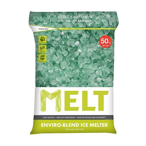 MELT 50 lb Produit de déglaçage de qualité supérieure et à formule écologique, en sac réutilisable, avec acétate de calcium-magnésium