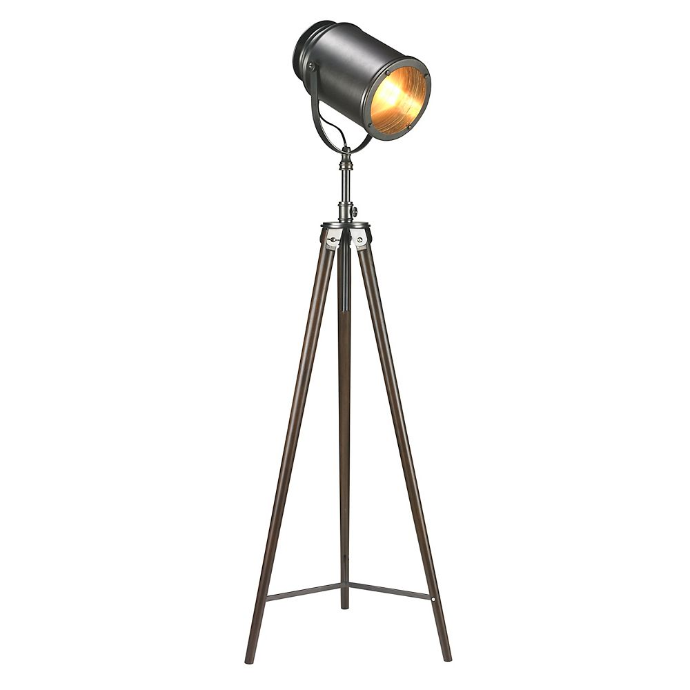 L2 Lighting 57 Inch Tripod Searchlight Wooden Floor Lamp
