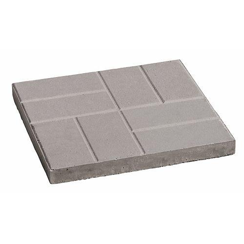 Dalle de patio a motifs de brique 16x16 gris