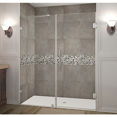 Aston Nautis 65 Inch X 72 Inch Completely Frameless Hinged Shower Door In Chrome