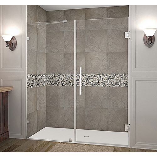 Aston Nautis 66 Inch X 72 Inch Completely Frameless Hinged Shower Door In Chrome