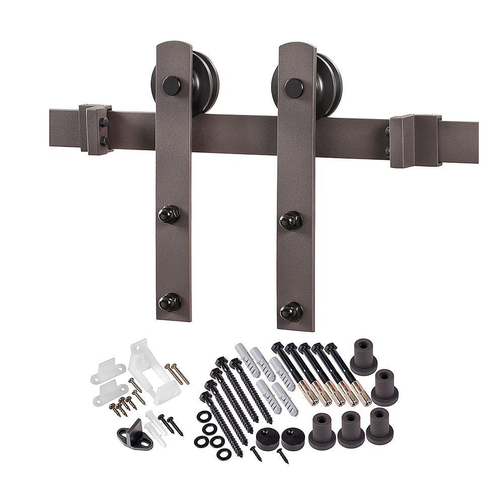 ACME 6.6 ft. Premium Bronze Interior Modern Country Rustic Wood Barn Door Closet Hardware Track Kit