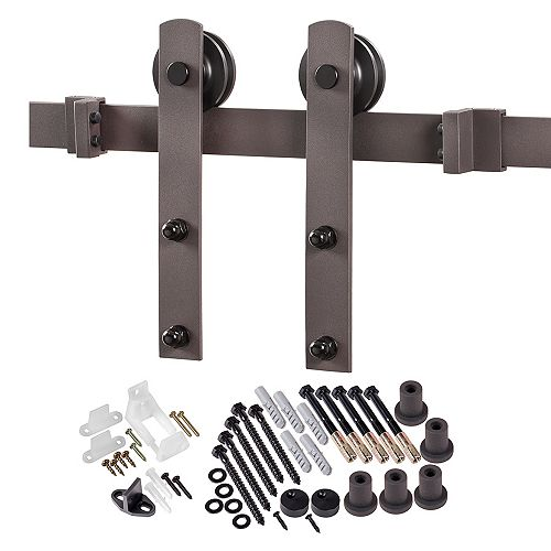 ACME 6.6 ft. Premium Bronze Interior Modern Country Rustic Wood Barn Door Closet Hardware Track Kit