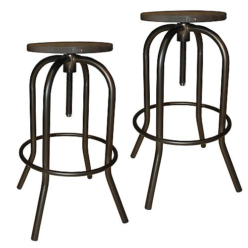 Arlo Solid Wood Brown Industrial Backless Armless Bar Stool with Brown Wood Seat - (Set of 2)