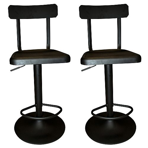 Haines Metal Black Industrial Backless Armless Bar Stool with Black Metal Seat (Set of 2)