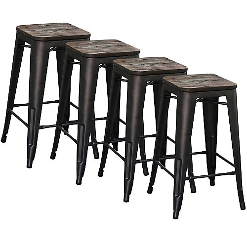 Modus Metal Black Industrial Backless Armless Bar Stool with Black Metal Seat - (Set of 4)