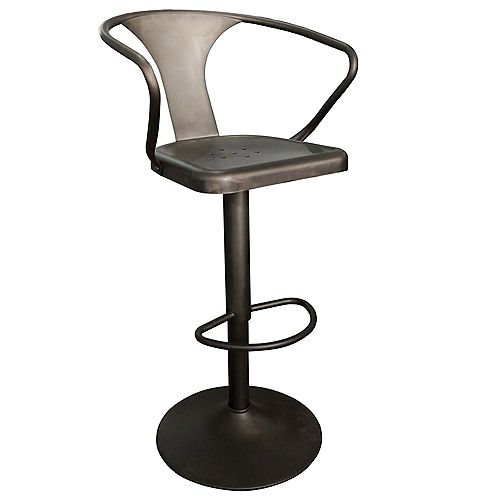 !nspire Astra Metal Black Industrial Backless Bar Stool with Black Metal Seat