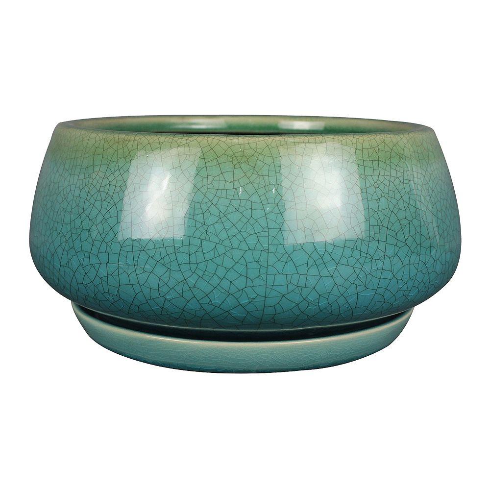 Trendspot Jardinière Geo en forme de bol, 10 po, céramique, turquoise