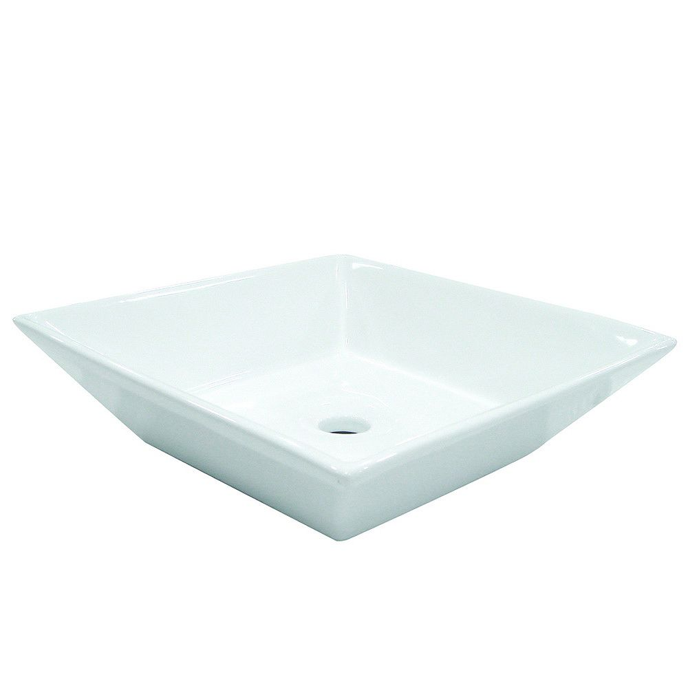 Kingston Brass Square Vitreous China Vessel Sink in White