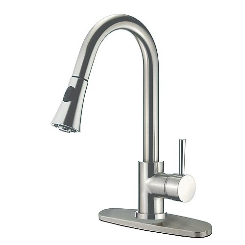 Single-Handle Pull-Down Sprayer Kitchen Faucet in Satin Nickel