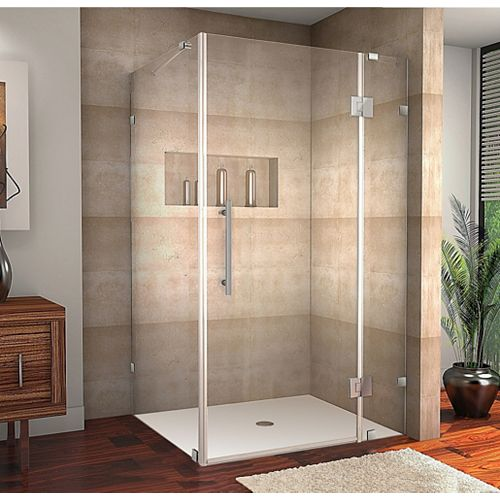 Avalux 40-Inch  x 36-Inch  x 72-Inch  Frameless Shower Stall in Stainless Steel
