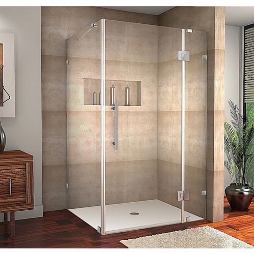 Avalux 42-Inch  x 36-Inch  x 72-Inch  Frameless Shower Stall in Stainless Steel