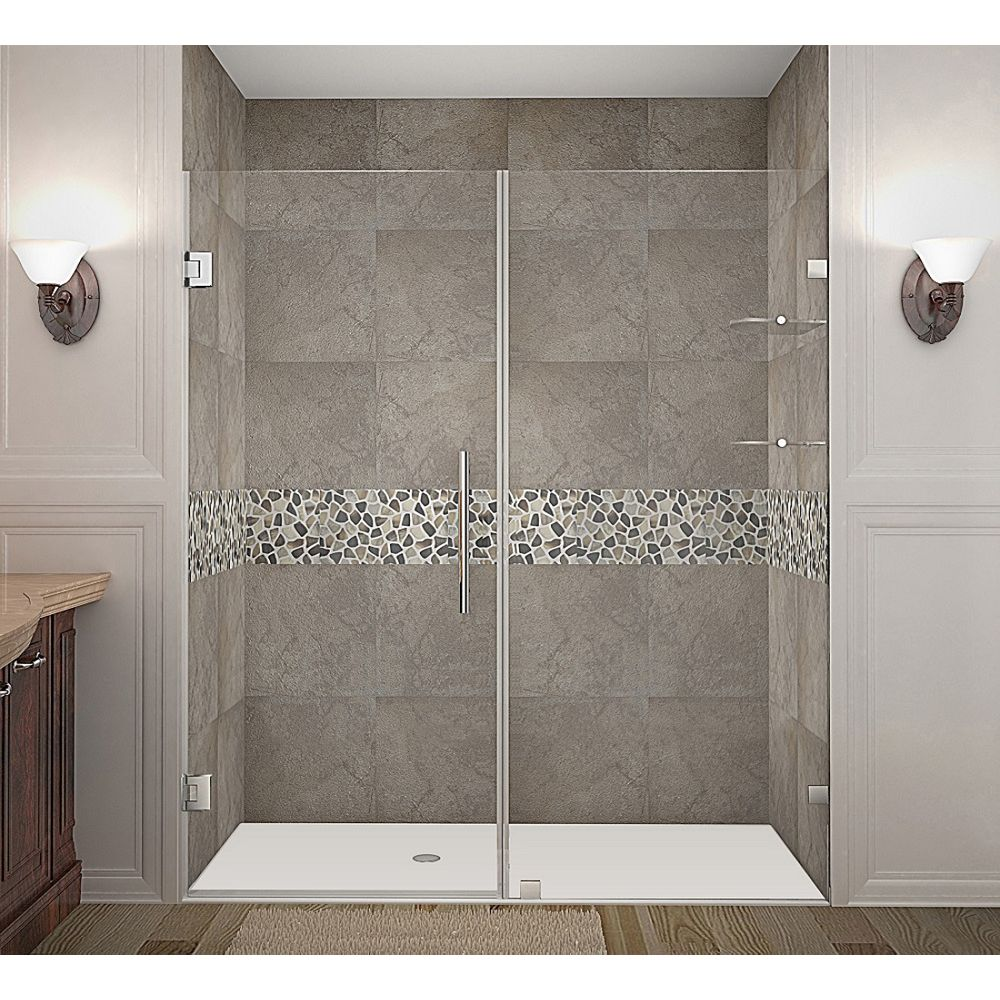 Aston Nautis GS 70 Inch X 72 Inch Completely Frameless Hinged Shower Door With Glass Shelves In Stainless