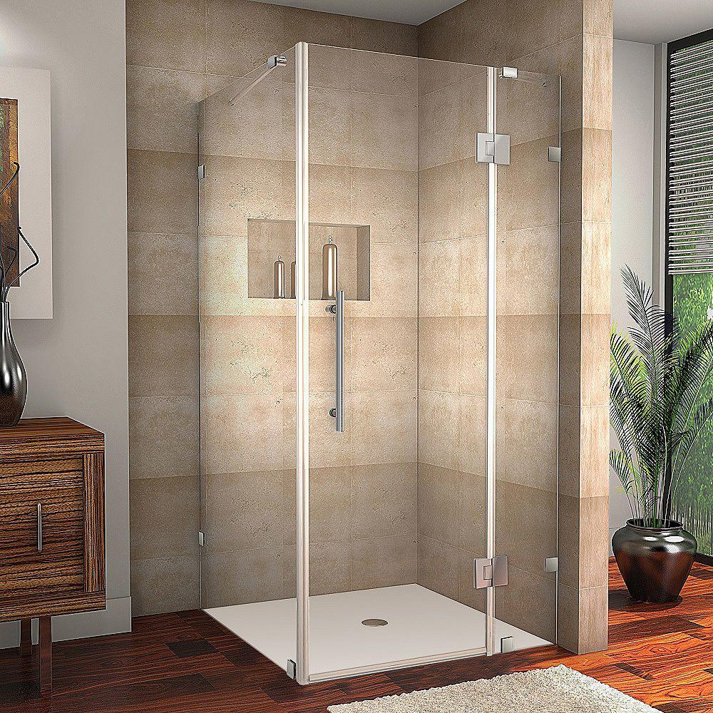 Aston Avalux 34-Inch  x 30-Inch  x 72-Inch  Frameless Shower Stall in Chrome