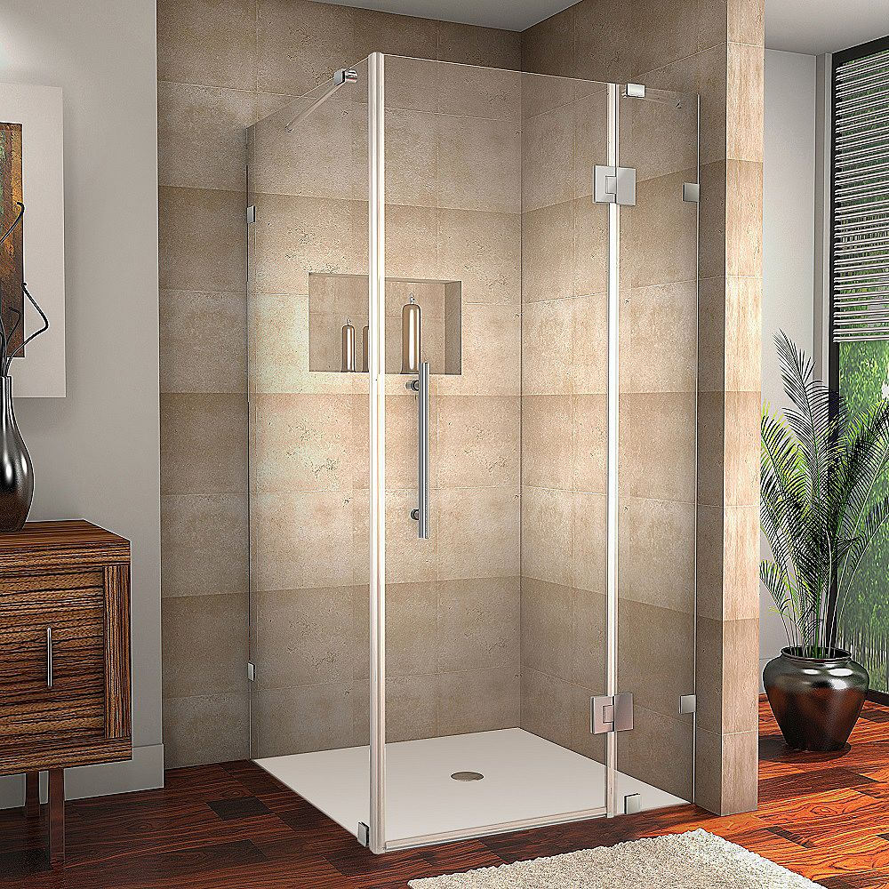 Aston Avalux 37-Inch  x 30-Inch  x 72-Inch  Frameless Shower Stall in Chrome