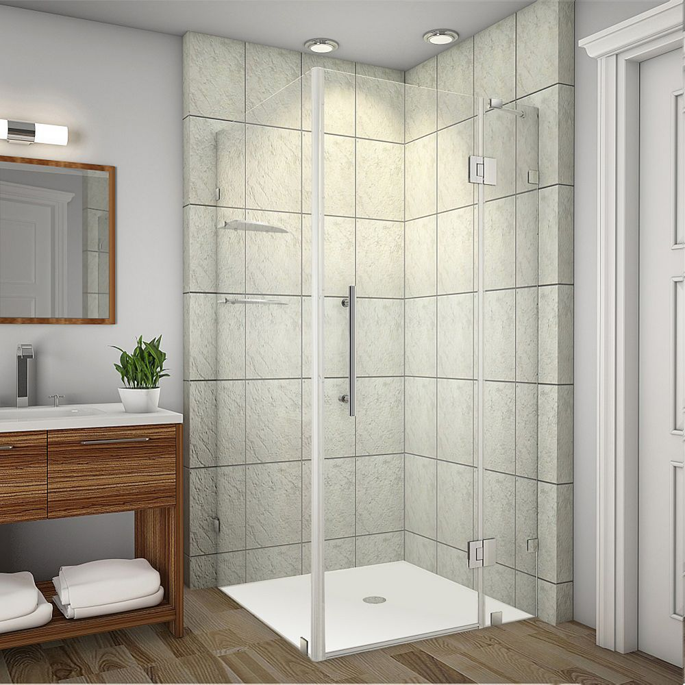 Aston Avalux GS 35-Inch  x 36-Inch  x 72-Inch  Frameless Shower Stall with Glass Shelves in Stainless Steel