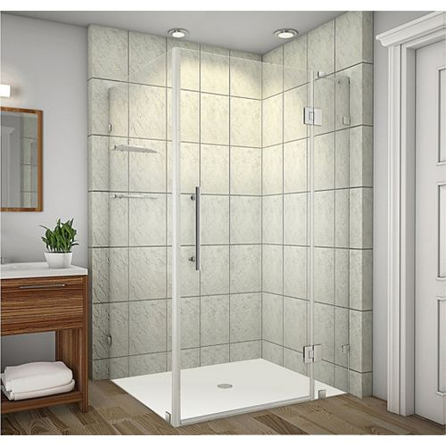 Aston Avalux GS 48-Inch  x 38-Inch  x 72-Inch  Frameless Shower Stall with Glass Shelves in Stainless Steel