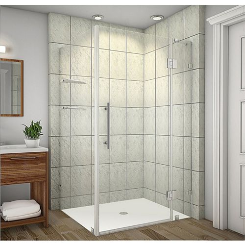Aston Avalux GS 42-Inch  x 32-Inch  x 72-Inch  Frameless Shower Stall with Glass Shelves in Stainless Steel