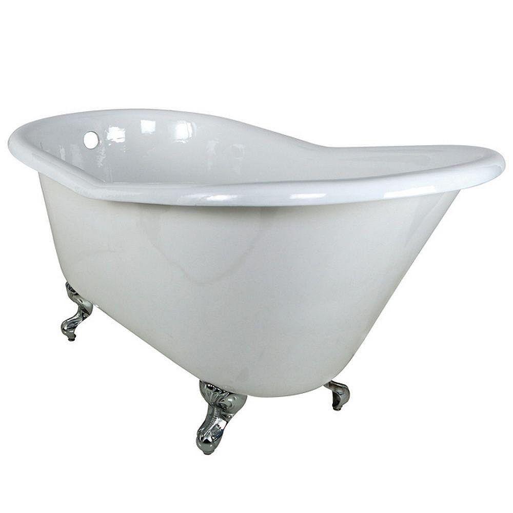 Aqua Eden 5 Feet Cast Iron Polished Chrome Clawfoot Slipper Bathtub in White