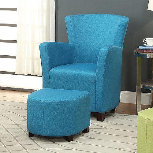 Elena-Club Chair W/Ottoman-Blue