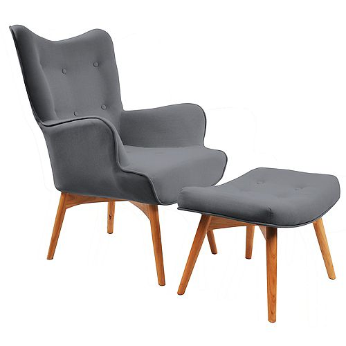 Rigi Wingback Linen Accent Chair in Grey with Solid Pattern