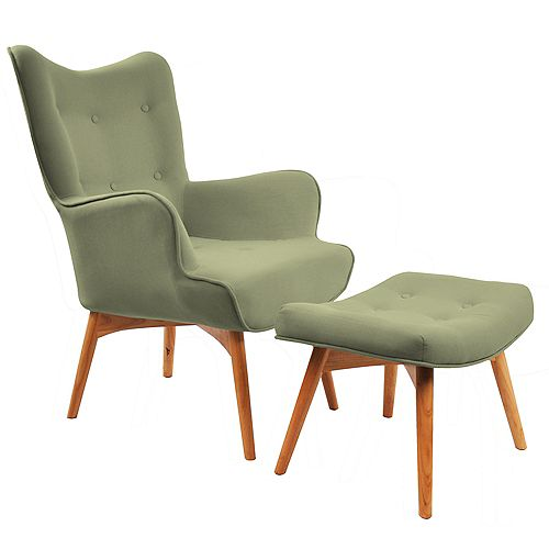 Rigi Wingback Linen Accent Chair in Green with Solid Pattern