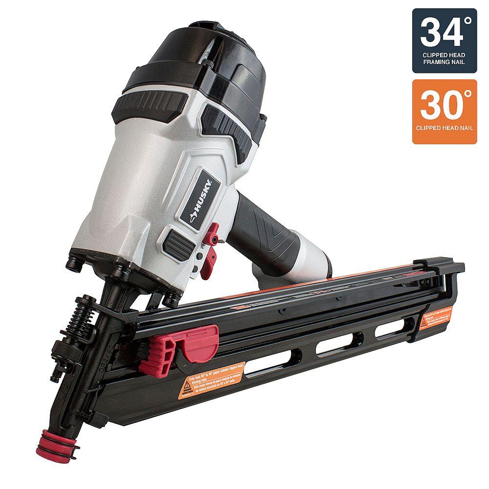 Husky 34-Degree Framing Nailer with Nail Depth Adjustment