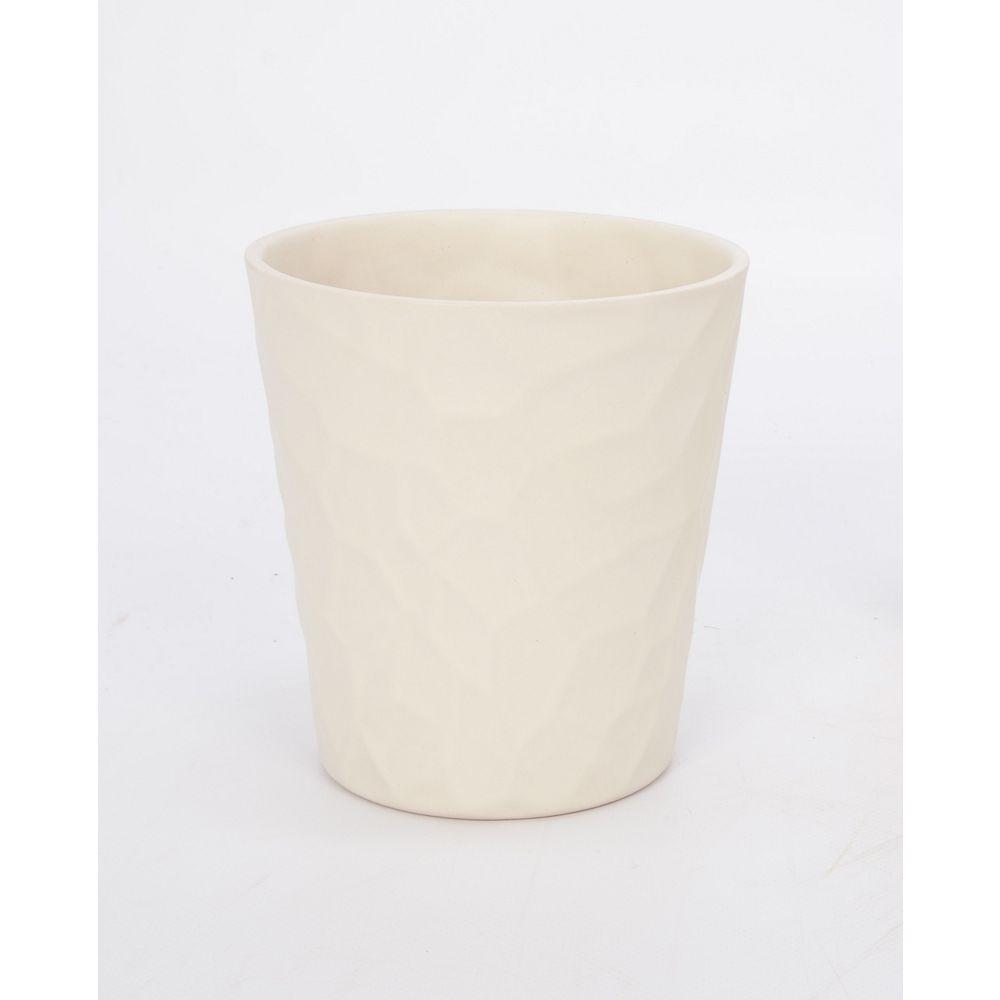 Foliera 6-inch Embossed Panna Matte Ceramic Pot