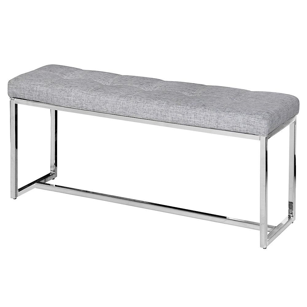 !nspire Vibes 39-inch x 18-inch x 11.75-inch Metal Frame Bench in Grey