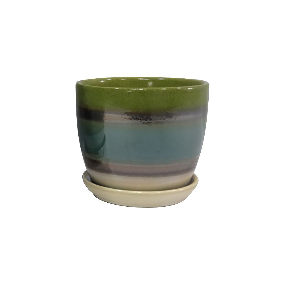 Trendspot 6in Lake Forest Striped Ceramic Planter