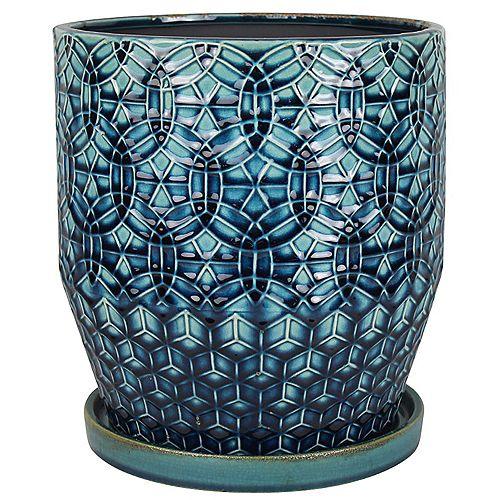 10 inch Rivage Ceramic Planter, Blue