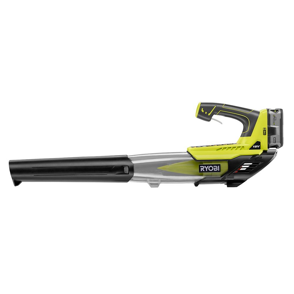 Ryobi 18v One 100 Mph 280 Cfm Variable Speed Li Ion Cordless Jet Fan Leaf Blower W 4ah B The Home Depot Canada