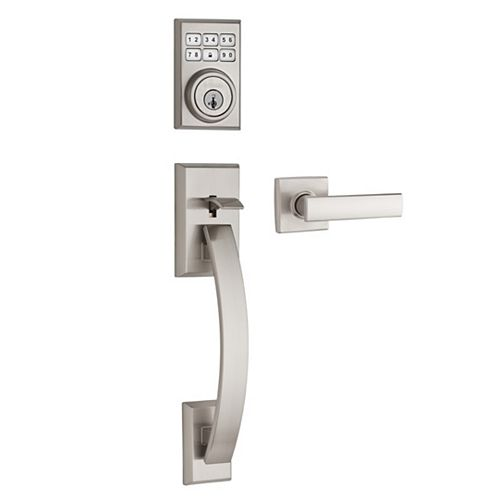 Tavaris SmartCode Single Cylinder Keyless Entry Handleset with Vedani Lever and SmartKey in Satin Nickel