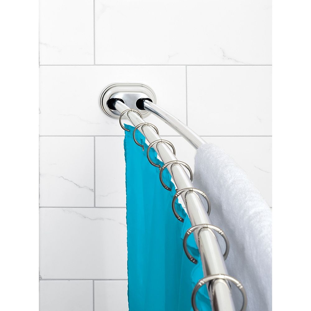 "Zenith Products Zenna Home NeverRust 50""- 72"" Alum. Adjustable Tension Mount Double Curved Shower Rod in Chrome"