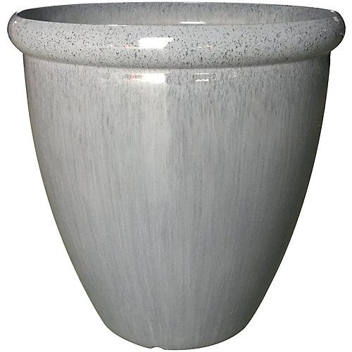 Pot à fleurs, faux vernis, 18 po, gris