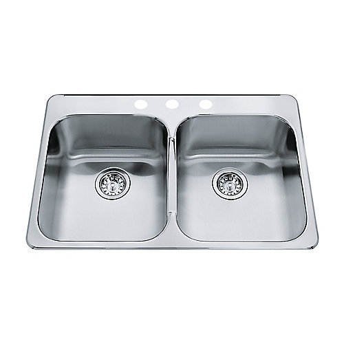 "Double 20 Ga sink 3 hole drilling -20-1/2"" X 31-1/4"" X 7"""