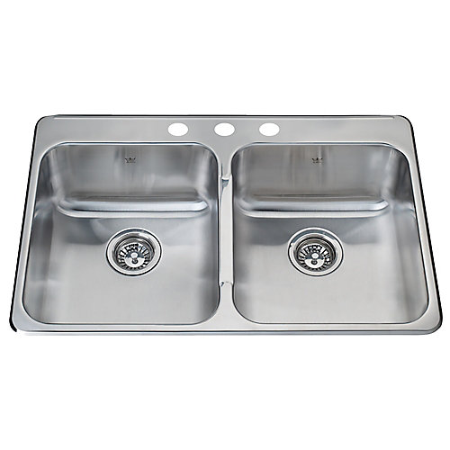 Satin Double 20 Ga sink 3 hole drilling