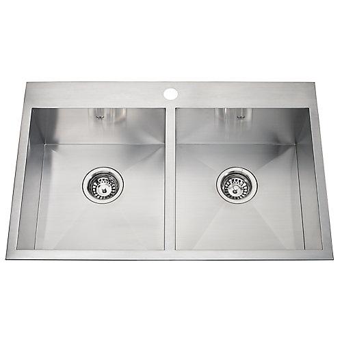 20 Ga HandFab DM double sink 1 hole drilling