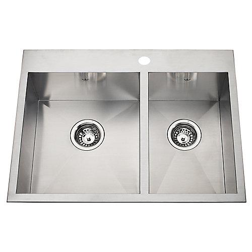 20 Ga HandFab DM combination sink 1 hole drilling