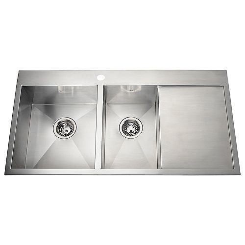 20 Ga HandFab DM drainerboard sink 1 hole drilling