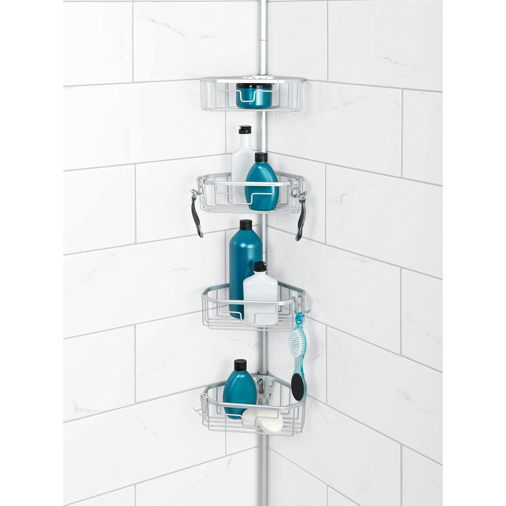 Zenith Products Neverrust Aluminum Tension Pole Corner Shower Caddy In Satin Chrome The Home Depot Canada