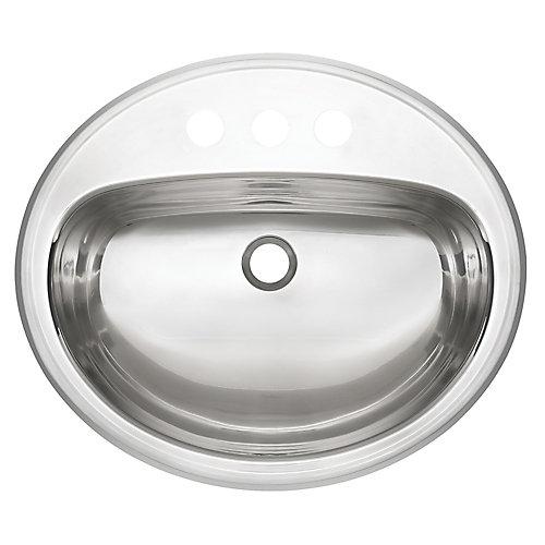 "18 Ga drop-in basin - 18"" X 21"" X 7"", 3 hole"