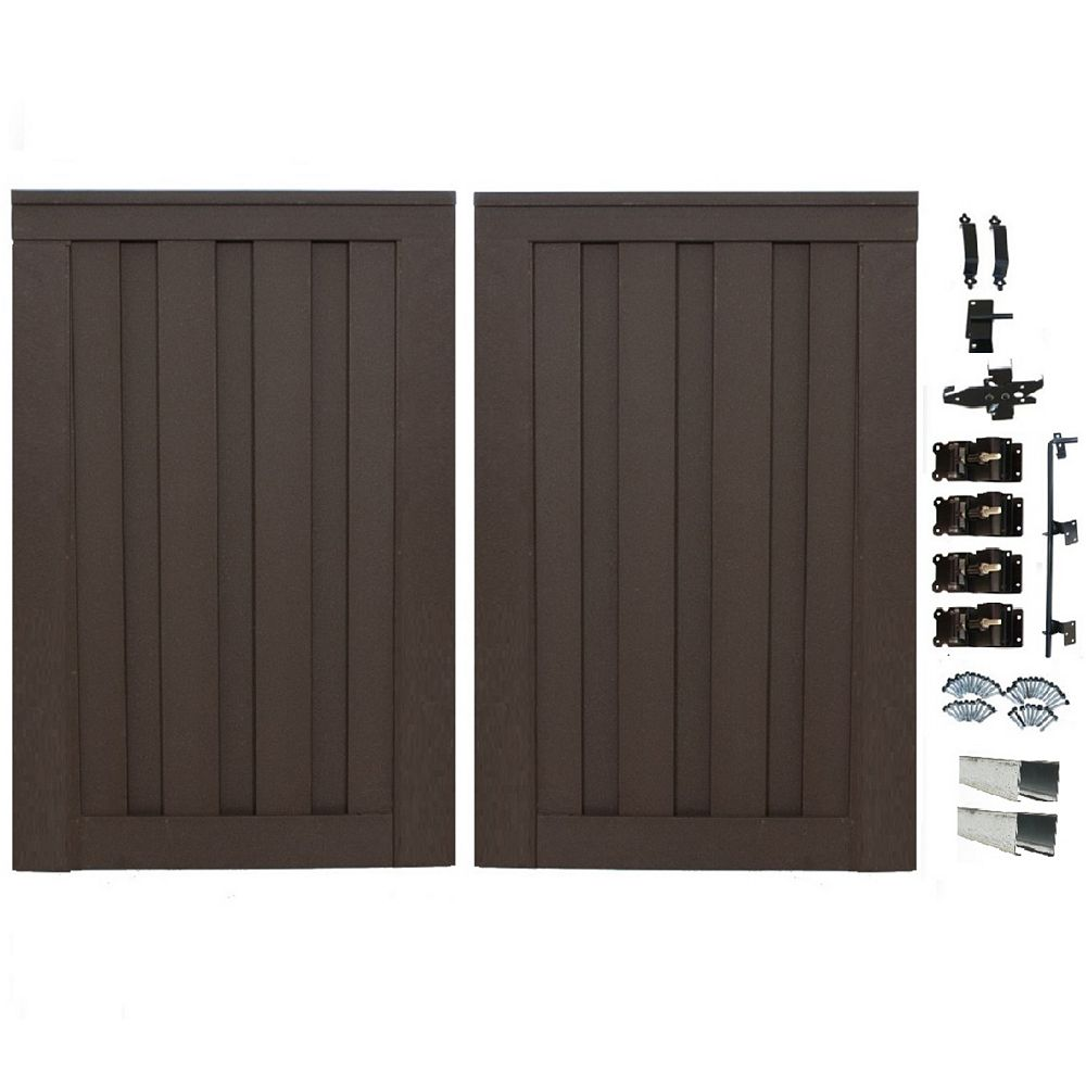Trex Seclusions 6 Feet x 8 Feet Woodland Brown Composite Privacy Fence Double Gate with Hardware